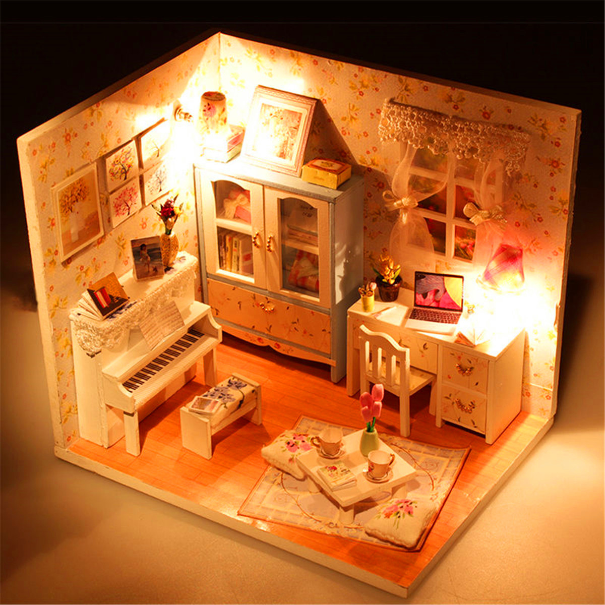 Hoomeda DIY Wood Dollhouse Miniature With LED+Furniture+Cover Doll House Room living room chair yellow red color stool retail wholesale free shipping furniture shop children stool