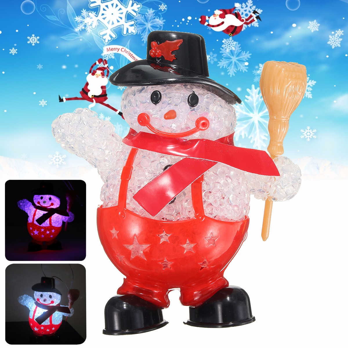 Lovely LED Christmas Snowman Ornament Night Light Home Party Tree Doll Decoration Gifts