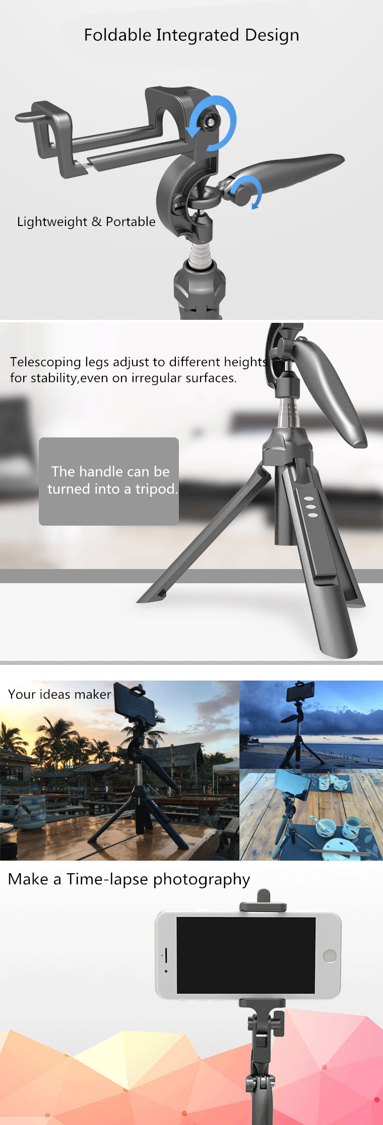 APEXEL Professional Telescopic Bluetooth Remote Control Handheld Stabilizer Holder Mount Selfie Stick Tripod