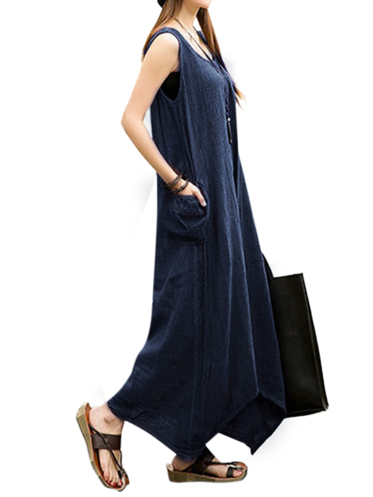 Vintage Casual Women Sleeveless High Low Cotton Linen Maxi Dress