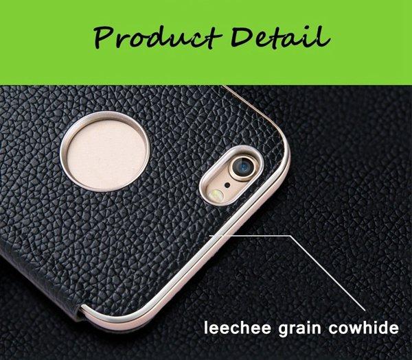 iPhone 6のプラスのための金属フレームの牛革プロテクターカバーと3 in 1の場合