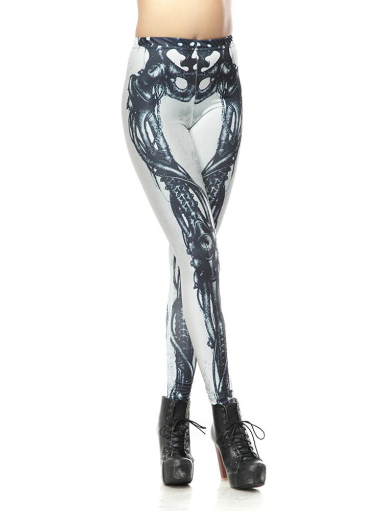Buy Sexy Halloween Women Skull Digital Printing Skinny Leggings