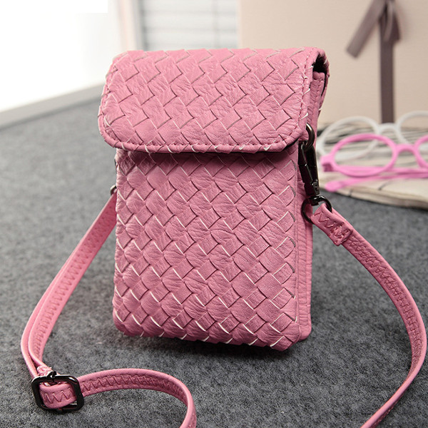 Women Knit Flap Crossbody Bags Girls Two Interlayer Mini Shoulder Bags 5.5'' Phone Bags For Iphone