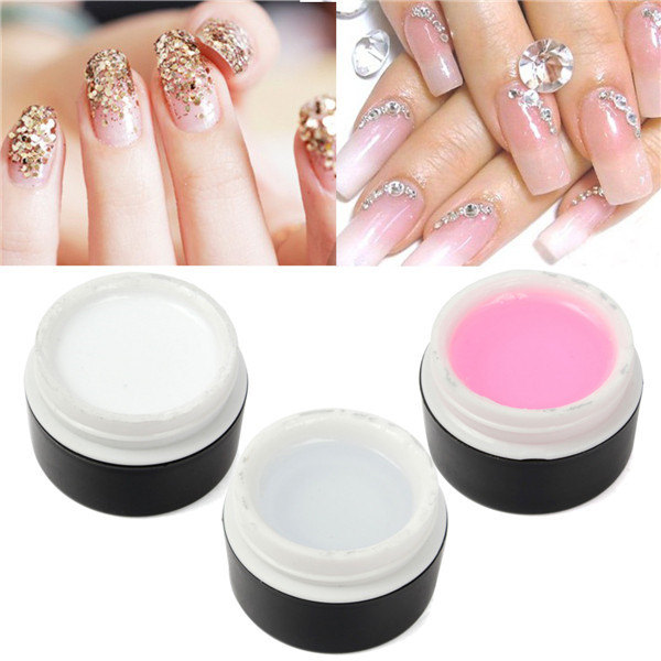 Buy Nail Art 3 Colors UV Gel Extension Builder Glue White Pink Clear Manicure
