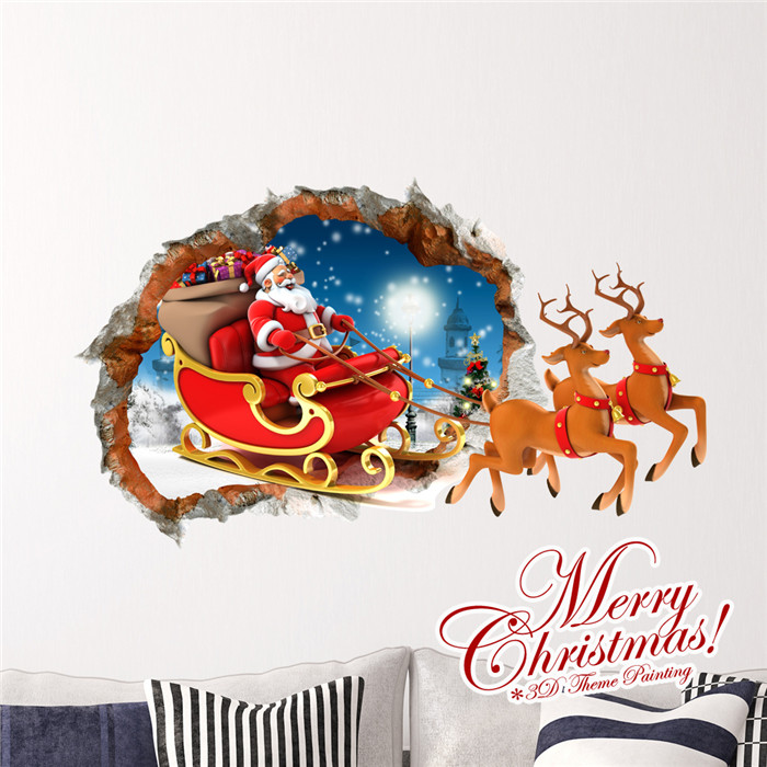 3d santa claus sled pag sticker wall decals sticker home dolphin wall decal cracked 3d wall sticker mural by