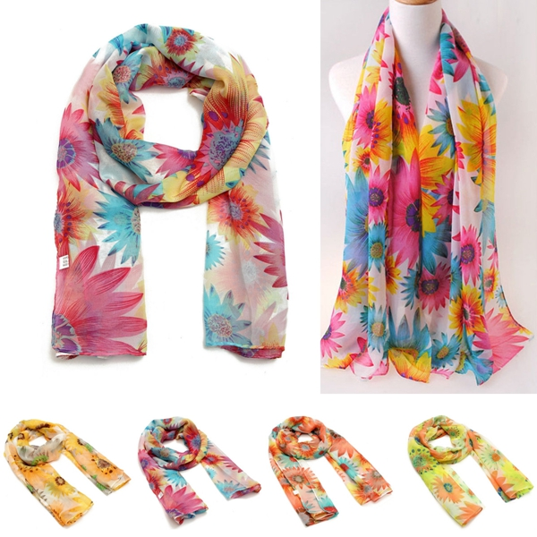 Women Lady Chiffon Scarf Long Soft Sunflower Wrap Shawl Scarves skull pattern fashion chiffon scarf shawl orange