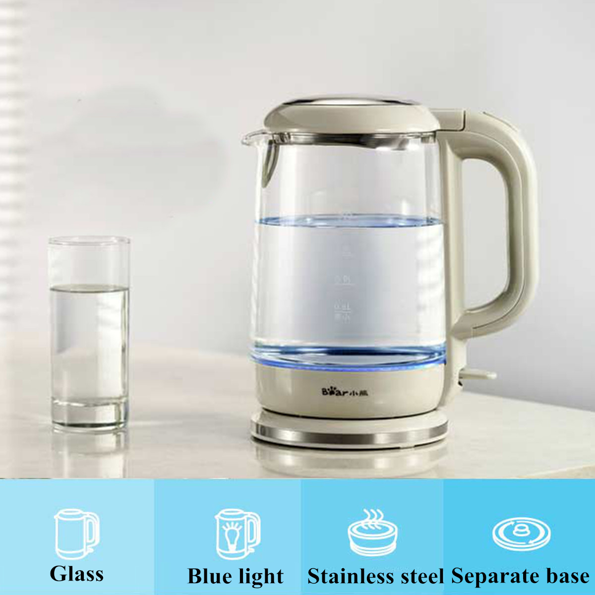 1.5L Electric Glass Clear Tea Kettle Hot Water Boiler Stainless Steel Heater Pot Cordless Fast Boil BPA Free Stain Resist Kettle