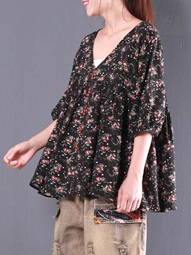 Casual Women Floral Printed Buttons Down V-Neck Blouse