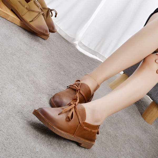 Lace Up Casual Bowknot Stitching Round Toe Flat Loafers