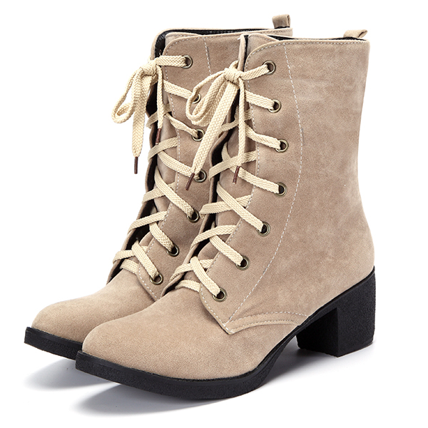 US Size 5-12 Women Mid-calf Boots Casual Outdoor High Heel Lace Up Shoes