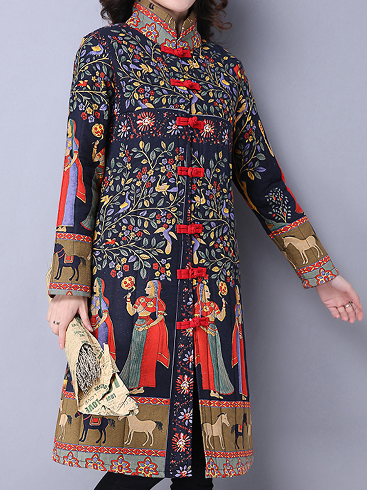 Vintage Women Folk Print Stand Collar Long Sleeve Coats