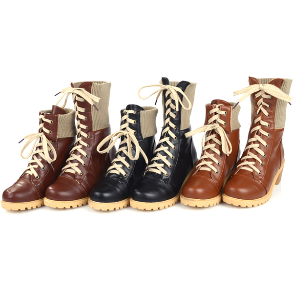 Lace Up Folded Round Toe Wedge Platform Ankle Short Boots For Women