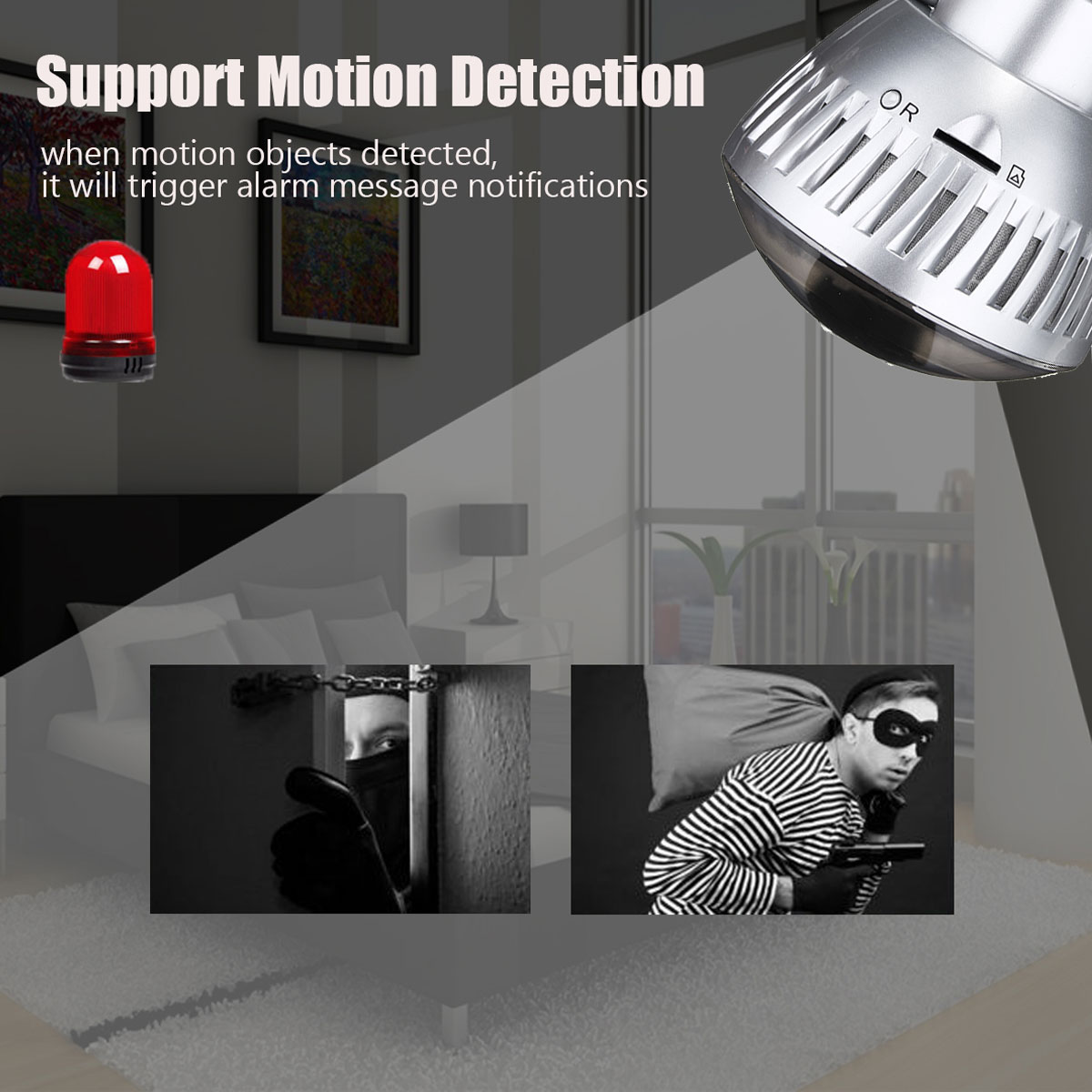 3.6mm Wireless Mirror Bulb Security Camera DVR WIFI LED Light IP Camera Motion Detection 16