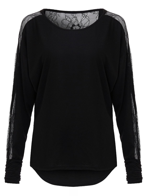 Sexy Women Plus Size Lace Splice Long Sleeve Blouse от Banggood INT