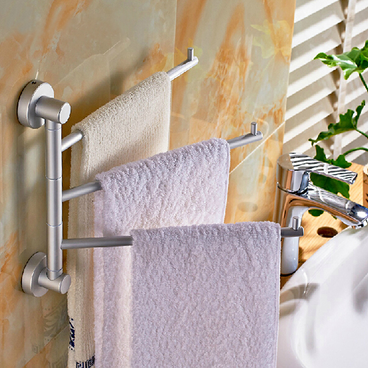 Bathroom Aluminum Wall Mounted Towel Rack Storage Holder With 3 Rotate Rails