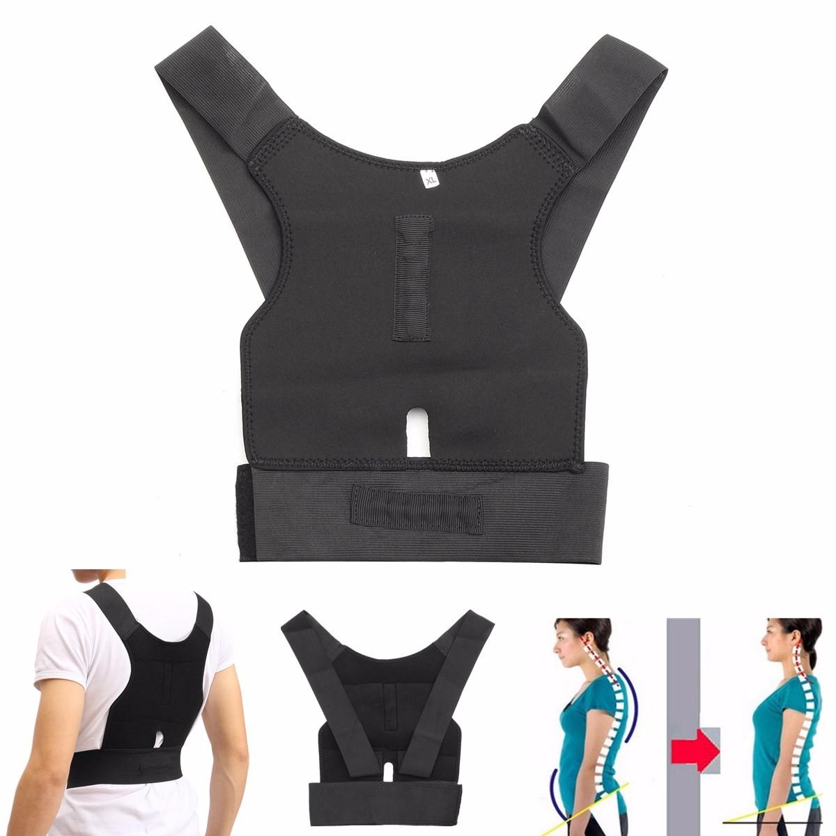 Buy Adjustable Back Support Posture Corrector Belt Shoulder Lumbar Brace