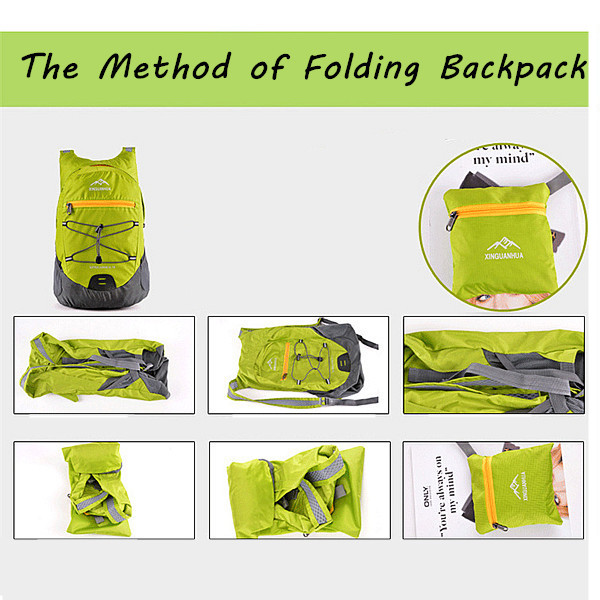 Lightweight Nylon Waterproof Backpacks Sports Fold Patchwork Portable Package Travel Bags