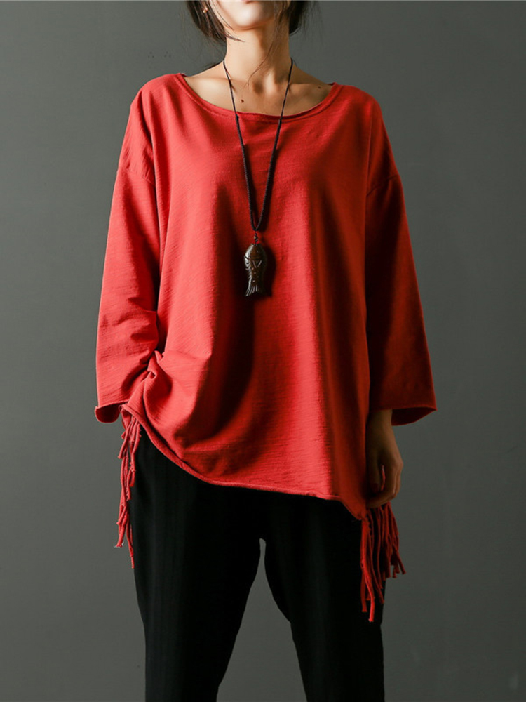 Casual Women Solid Color Scoop Neck Tassel Loose Blouse