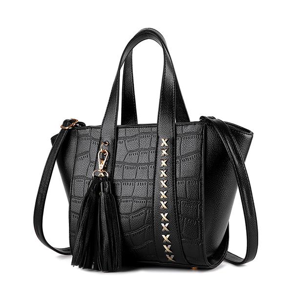 Women PU Leather Tassel Rivet Wing Tote Bags Ladies Elegant Shoulder Bags Crossbody Bags