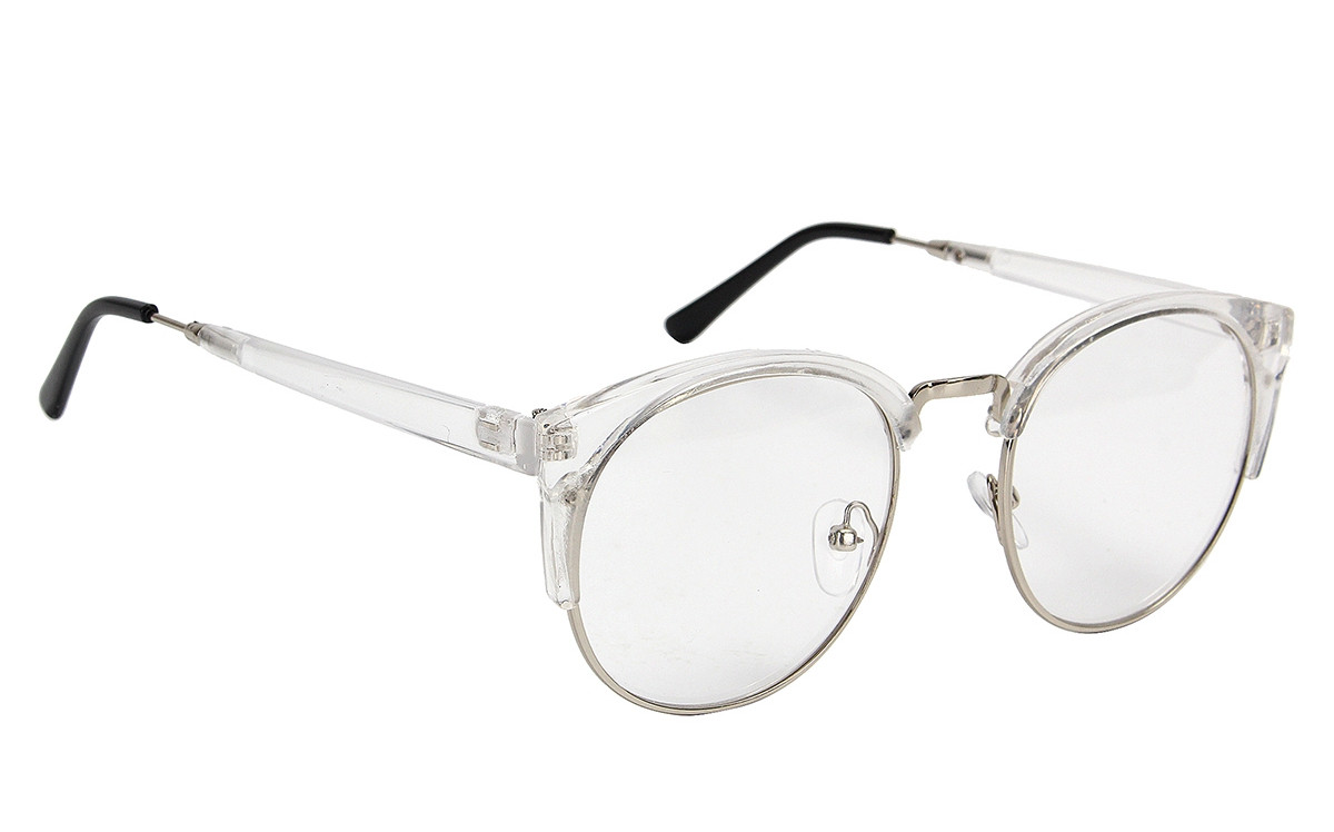 Plain Glasses Vintage Antique Metal Half Rim Frame ...