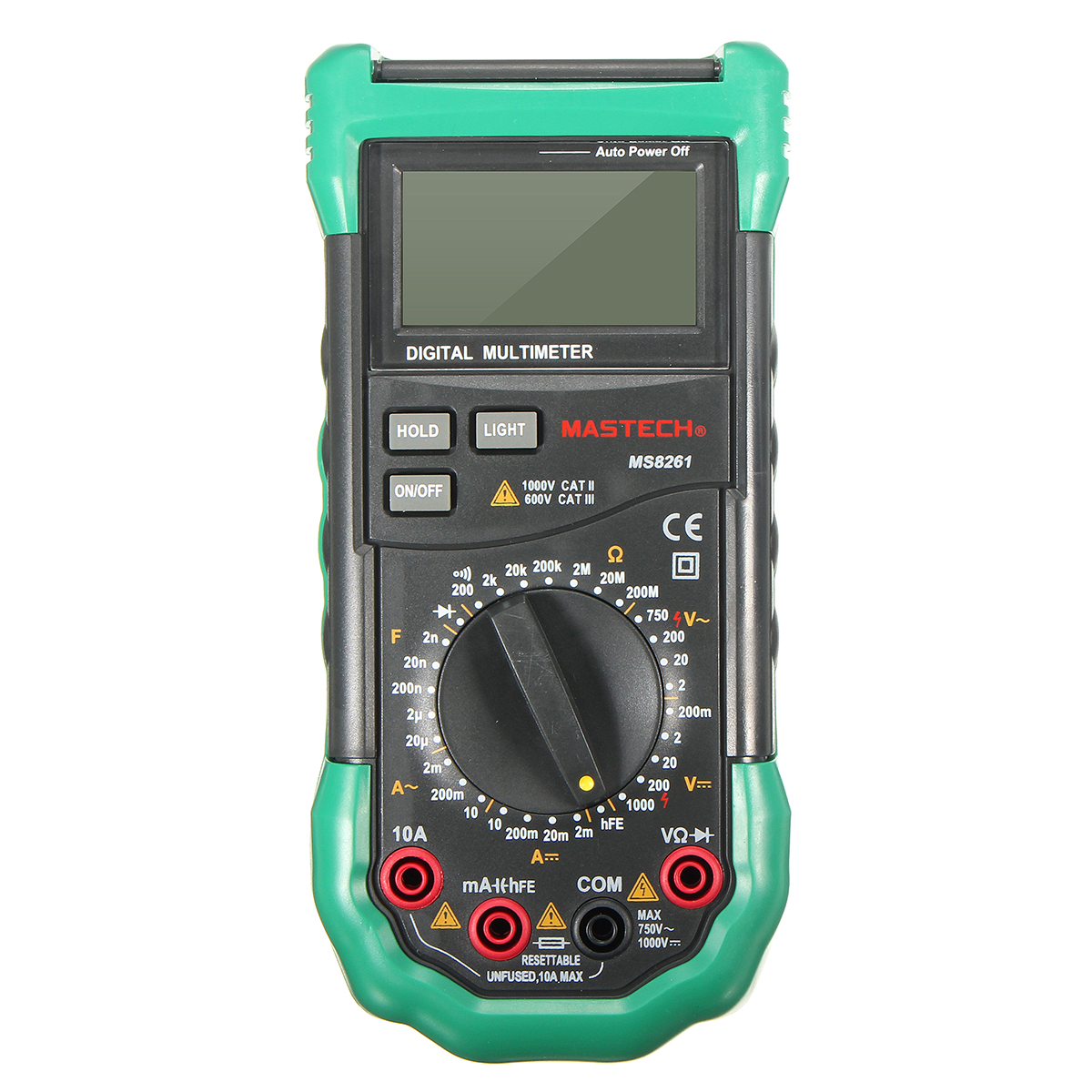 MASTECH MS8261 LCD Backlight Display Digital Multimeters AC/DC Volt Amp hFE Test