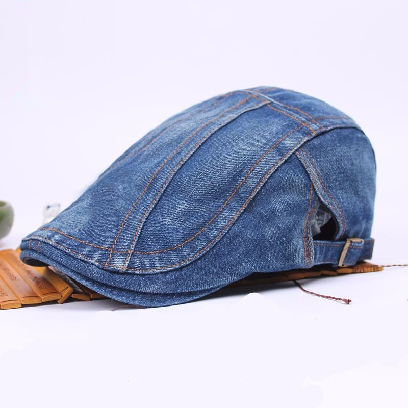 Unisex Men Women Denim Jeans Washed Newsboy Beret Hat Duckbill Golf Buckle Cabbie Cap men male wool blend newsboy beret cap grid blank thick flat cowboy cabbie hat