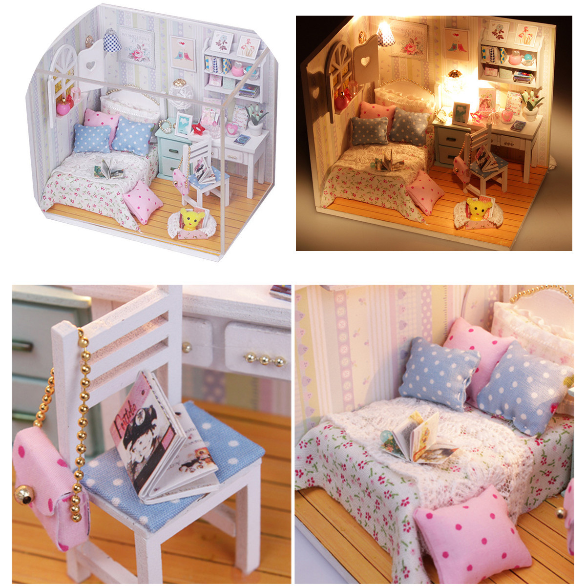 DIY Wood Dollhouse Miniature With LED Furniture Cover