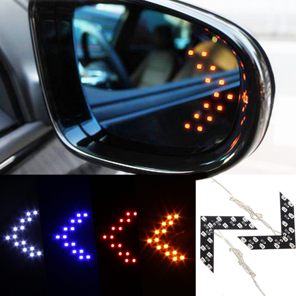 2x 14 SMD LED Arrow Panel Car Side Mirror Turn Signal Indicator Lights Bulbs 2pcs amber yellow error free 48 smd py24w 5200s led bulbs w reflector mirror design for bmw audi front turn signal lights