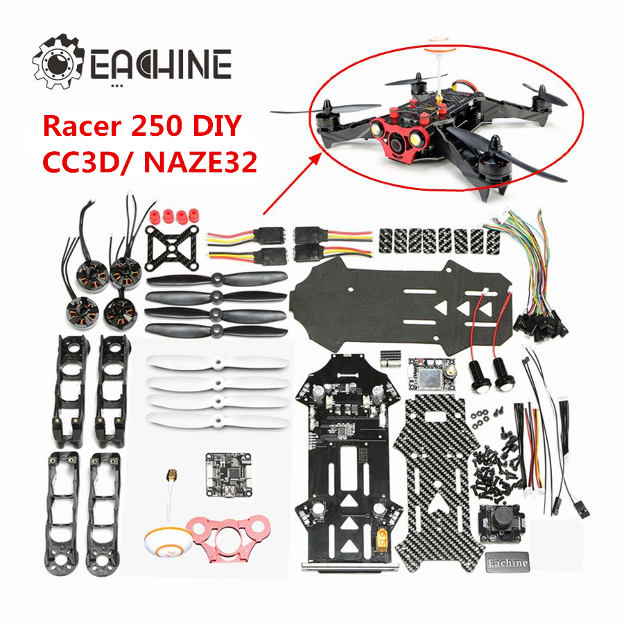 Eachine Racer 250 DIY Kit CC3D Naze32 w/ 600MW 5.8G 32CH transmitter Built in OSD HD Camera rtd2668 universal hdmi vga audio lcd controller board kit for 15 6 inch n156bge l41 1366x768 lvds monitor kit easy to diy
