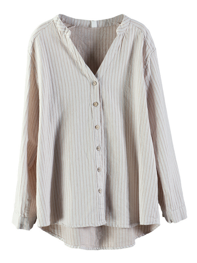 Stripe V-Neck Long Sleeve Women Vintage Blouse