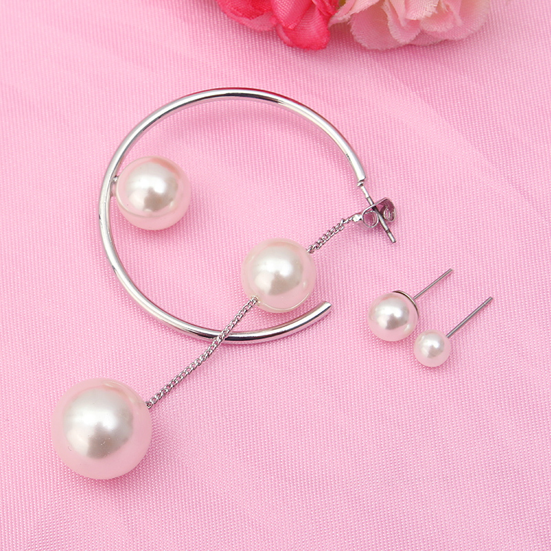 3 Pc of Earrings Artificial Pearl Trendy Circle Women Earrings