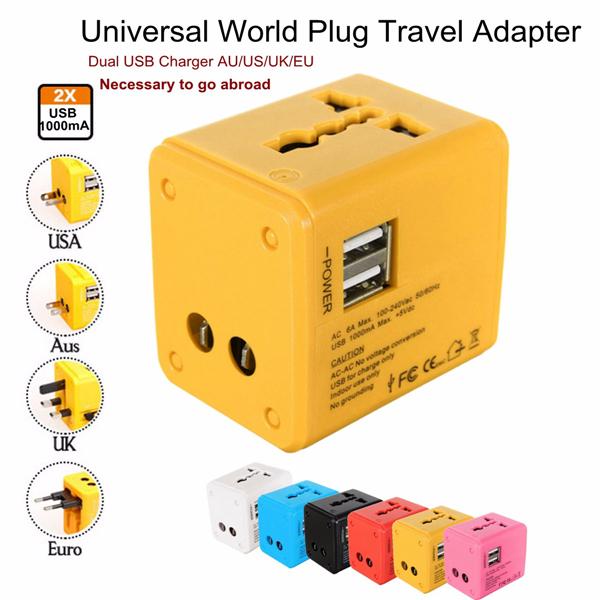 Us Au Uk Eu Universal World Plug Travel Adapter Converter With Dual Usb Charger Alex Nld