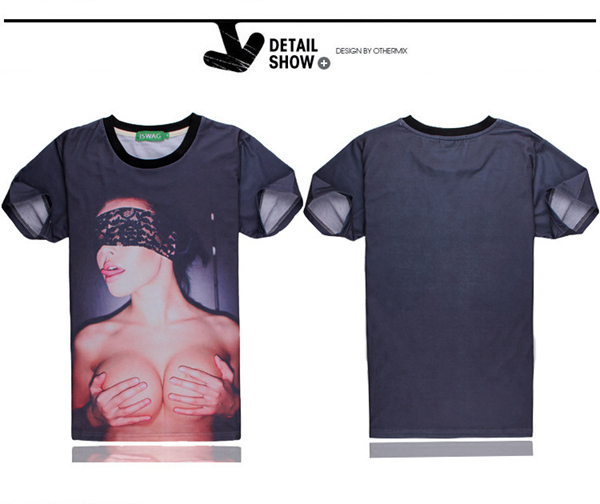 3D Sexy Girl Pattern Spoof Short Sleeve O-neck Men T-shirt Tops