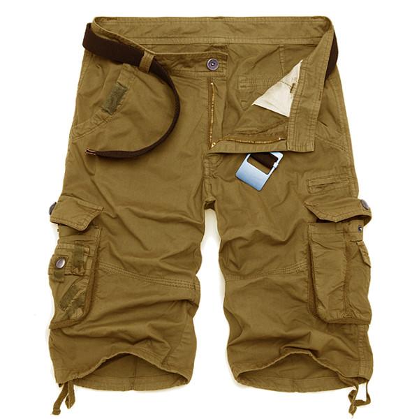 Summer Mens Cotton Cargo Shorts Casual Multi Pocket Shorts ...
