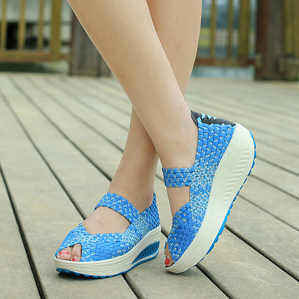 Knitted Elastic Rocker Sole Breathable Sandals