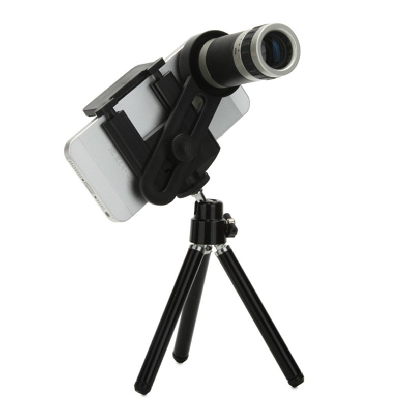 Universal 8X Zoom Optical Lens Adjustable Telescope With Tripod For Samusng iPhone Sony detachable 14x camera zoom optical telescope telephoto lens set for iphone 4 4s silver black