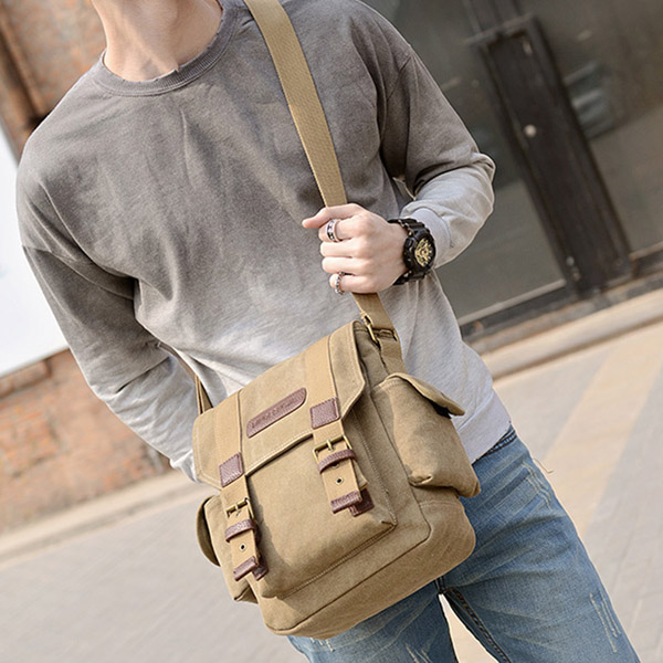 Men Bag, Canvas Casual Travel, Outdoor Black Khaki, Green Shoulder Crossbody Bag
