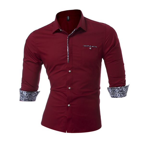 Mens Prinring Stitching Fashion Casual Slim Fit Turn-down Collar Chemise à manches longues