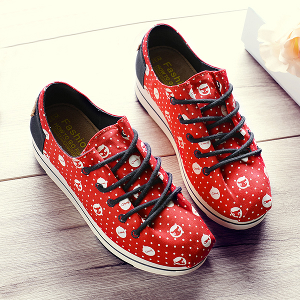 Women Casual Chic Shoes Lace Up Platform Canvas Shoes Colorful Leisure Shoes