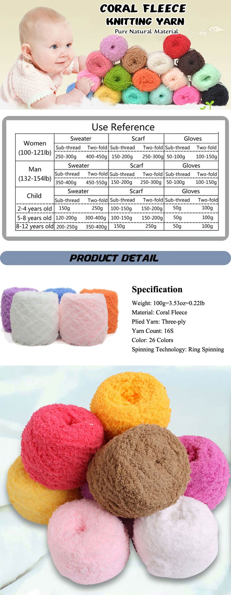 Coral Fleece Knitting Wool Yarn