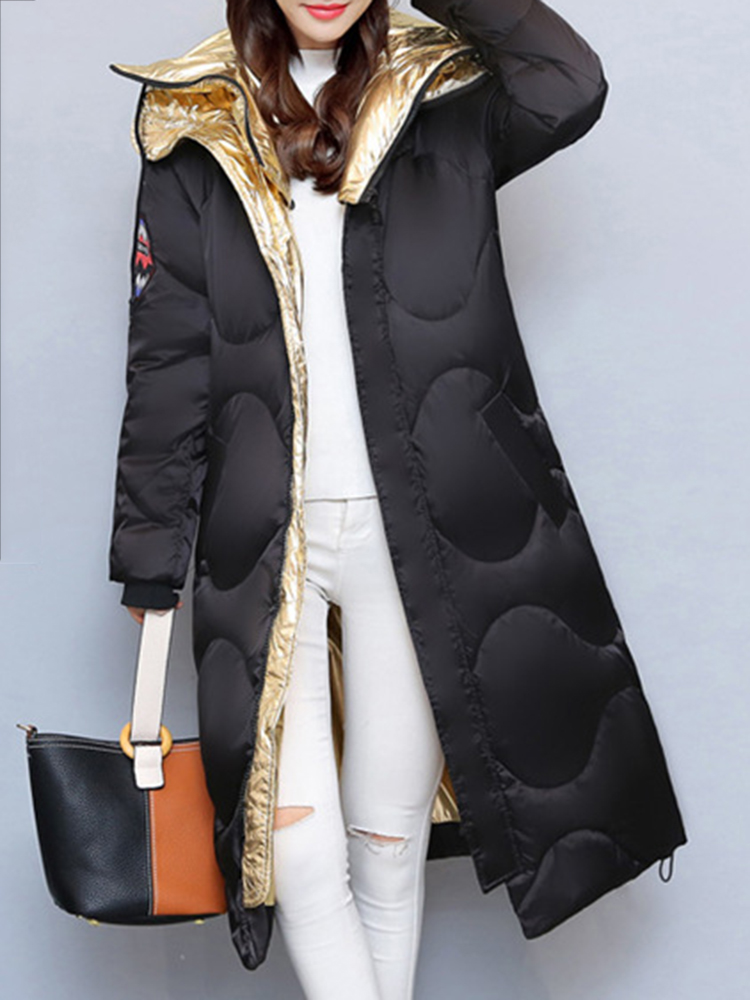 Casual Women Pure Color Long Sleeve Hooded Long Down Coats