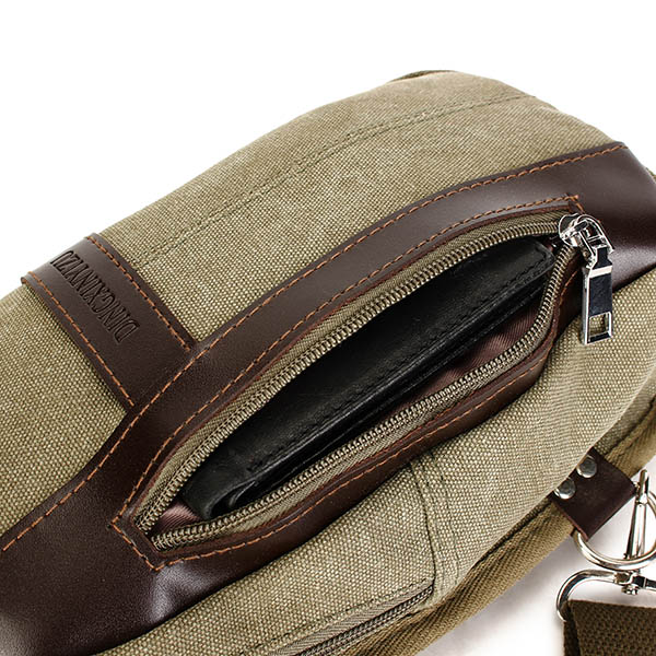 Men's Canvas Leisure Crossbody Bag Outdoor Travel Shoulder Pocket