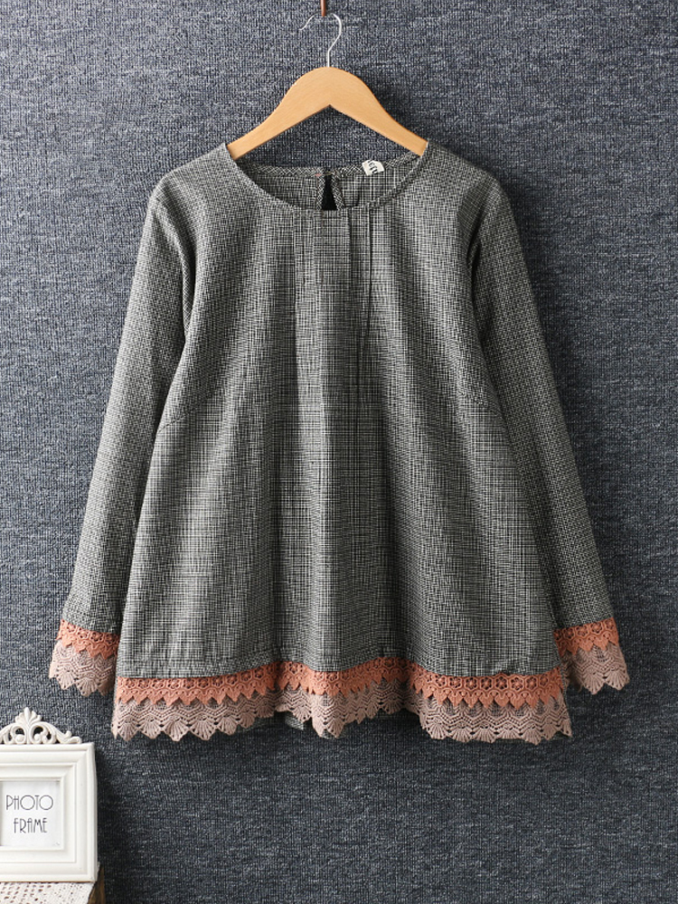 Women Long Sleeve Lace Patchwork Loose Hem Plaid Blouses