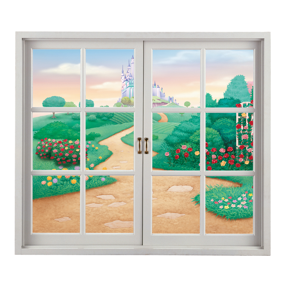 Cartoon contryside view 3d artificial window view pag wall for Home decor 3d stickers