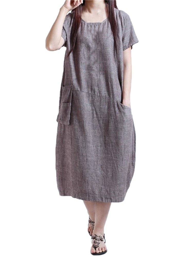 Pocket Vintage Linen Cotton Dress