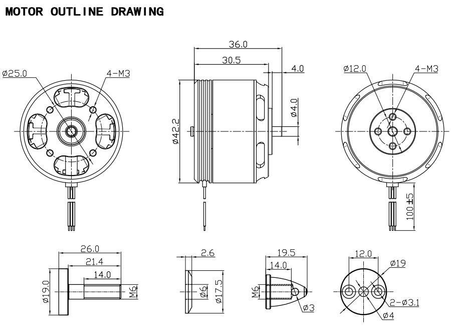 Racerstar Racing Edition 3515 BR3515 500KV 3-6S Brushless Motor For 600 650 700 800 RC Frame Kit - Photo: 11