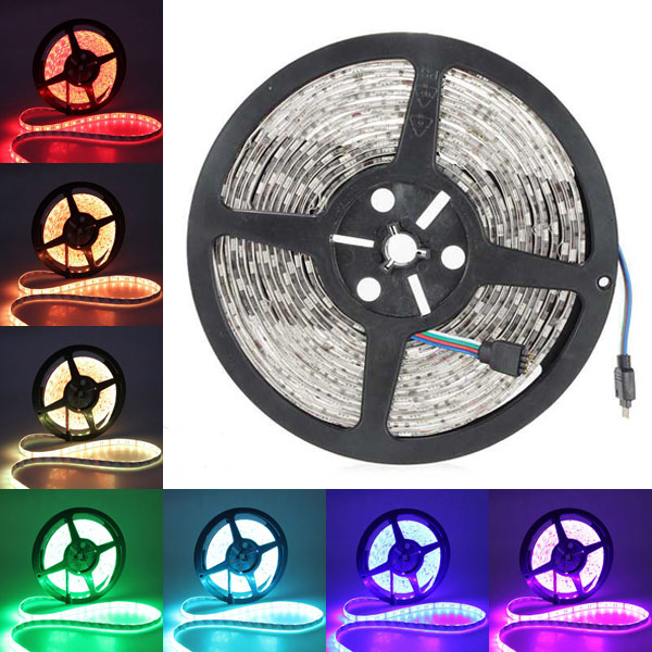 5M 5050 SMD RGB 300 LED Strip Light Waterproof IP65 12V DC 20pcs lot led connector silicon clip for fixing non waterproof 3528 5630 5730 3014 5050 smd rgb rgbw led strip bracket clamp