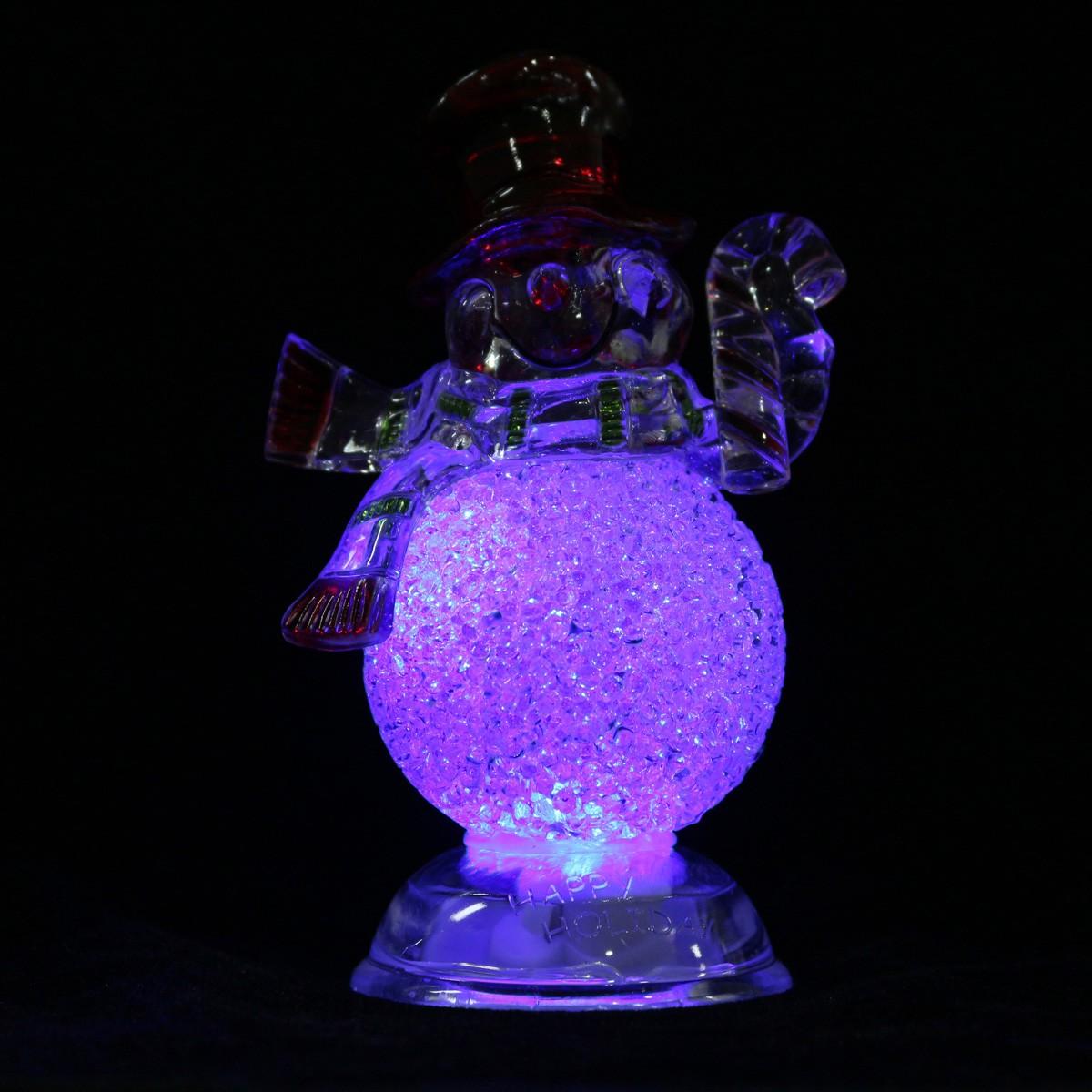 Acrylic Christmas Xmas Transparent Snowman LED Light Color Changing Home Decor - Photo: 7