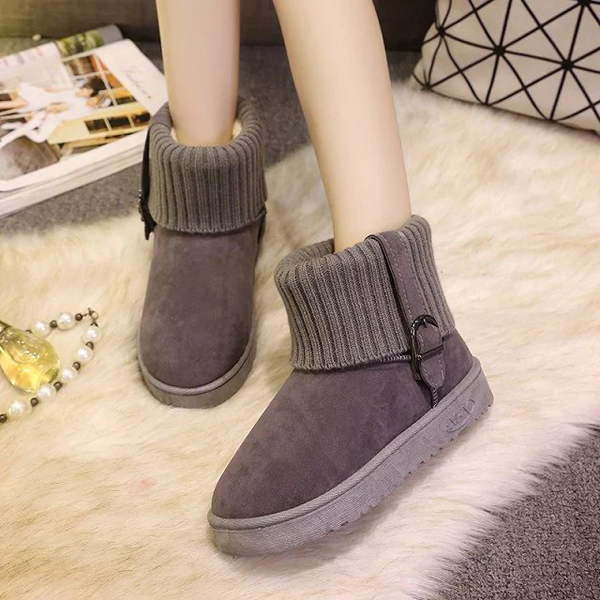 Faux Fur Lining Slip On Round Toe Keep Warm Ankle Snow Boots