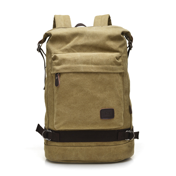 Buy Big Capacity Casual Canvas Travel Backpack Laptop Compartment Solid Bag For Man